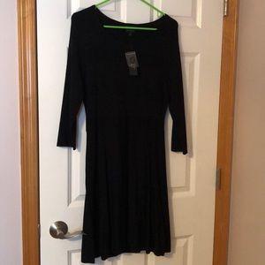Black knit 3/4 sleeve dress